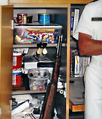 inside a con-locker at Annapolis