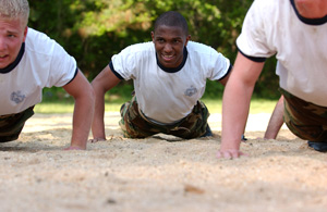plebes doing push ups