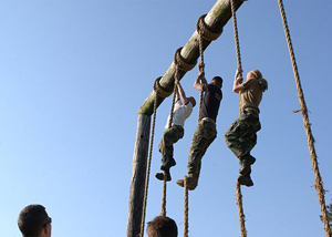 rope climbing at annapolis's obstacle course