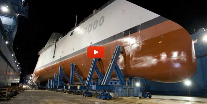USS Zumwalt transfered to a dry dock